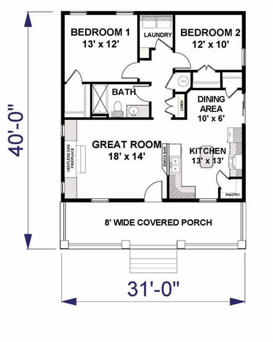 Compact Floor Plan Good For A Cabin Small House Plans Tiny House Plans Cottage House Plans