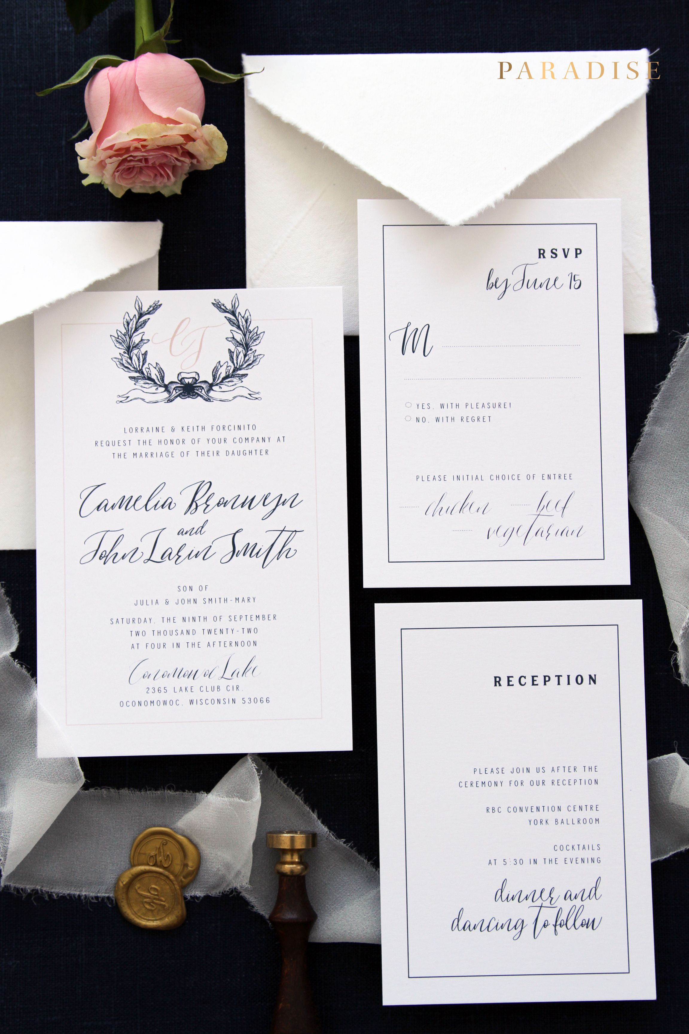 camelia navy and blush wedding invitation sets invitation set