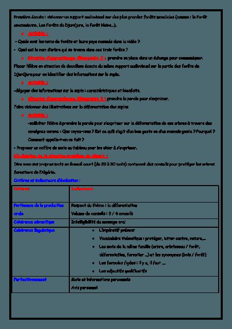 نماذج مذكرات اللغة الفرنسية للسنة الرابعة إبتدائي الجيل الثاني