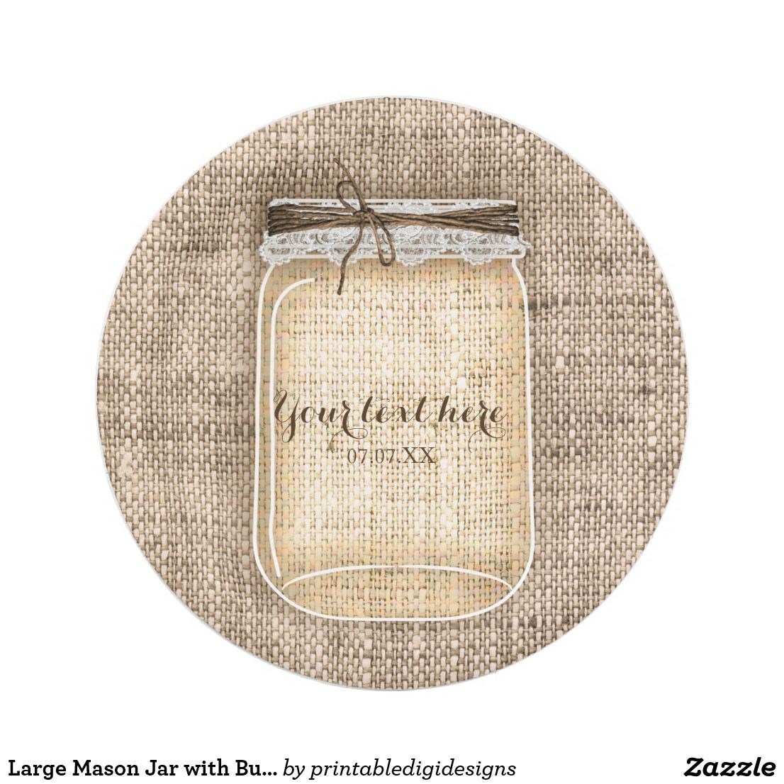 Large Mason Jar with Burlap & Lace Rustic Wedding Paper Plate ...