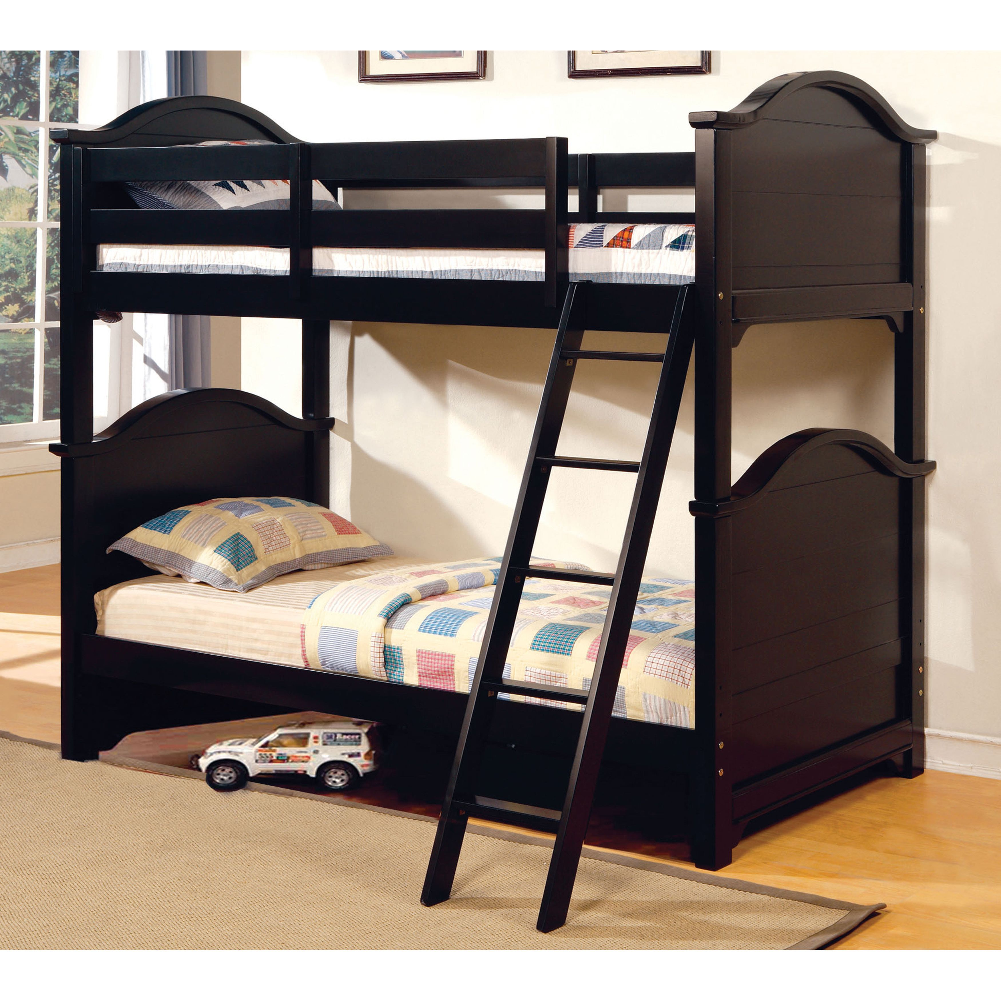 furniture of america ashlee classic arched black bunk bed black