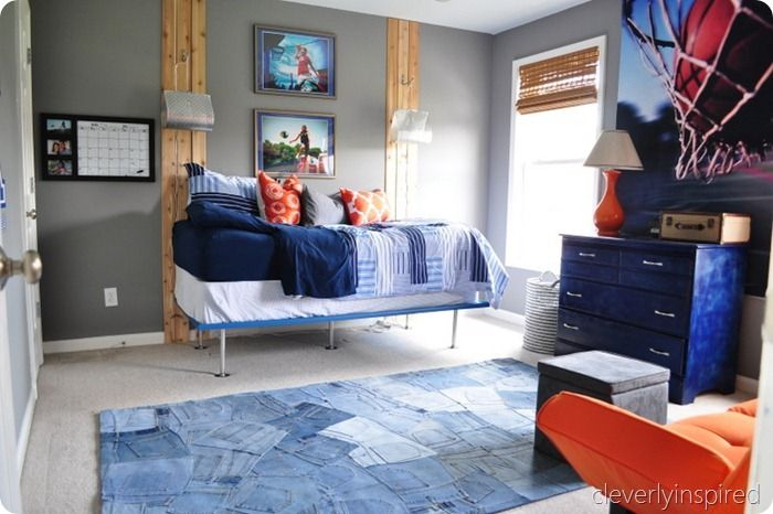Teenage Boy Room   Cleverly Inspired Gray And Orange Room. LOVE The Jean Rug