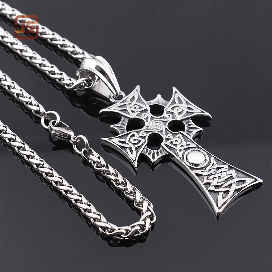 Christian jewelry stainless steel viking triple horn of odin celtic
