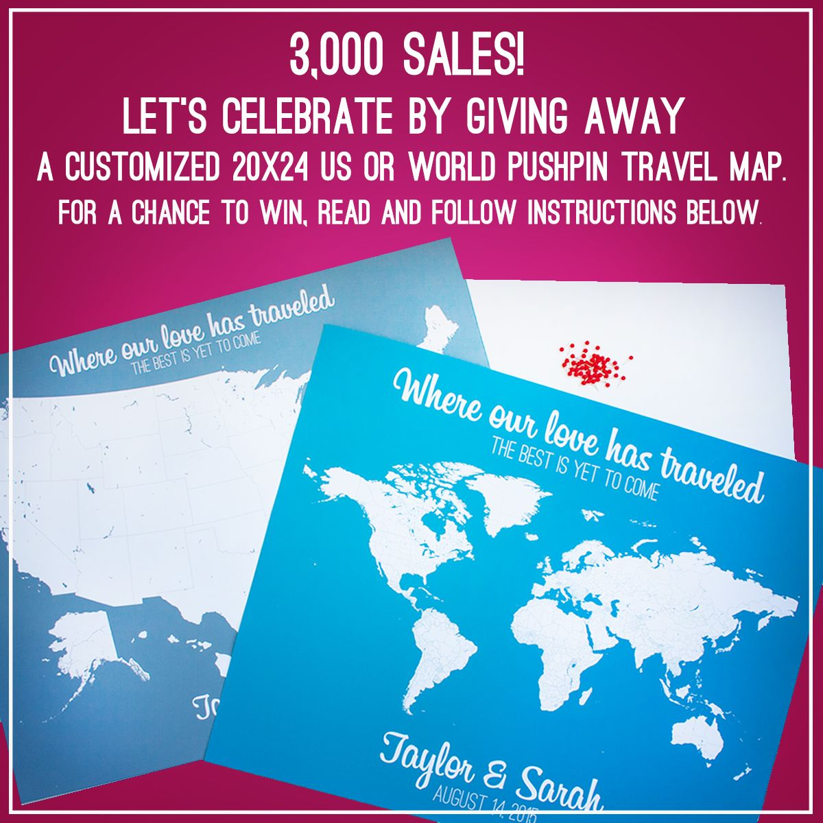 3,000 sales! Let's celebrate by giving away a customized 20x24 US or World pushpin travel map. FOLLOW THE INSTRUCTIONS FOR A CHANCE TO WIN >> 1) Like the SoleStudio Facebook Page >> http://bit.ly/2bMZMeI  AND 2) Comment on this post and tell us your favorite travel destination. GO!!! The winner will be chosen Thursday, September 1, 2016, at 7:00 p.m. EST. Don't miss this opportunity! :) #giveaway #personalizedmaps #pushpinmaps #travelmaps #travelers #love #travellove #creativestudio…