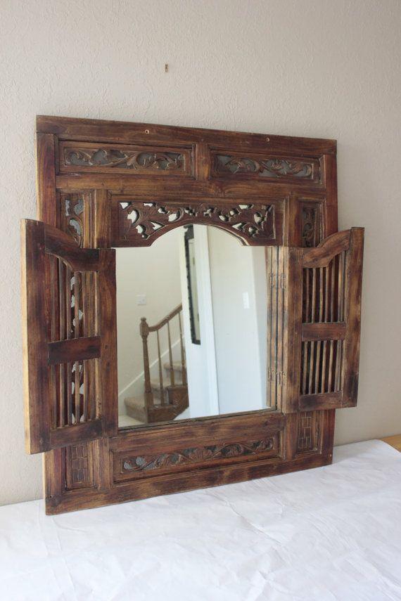 On Sale Vintage Balinese Carved Wood Window Mirror Wall Mirror