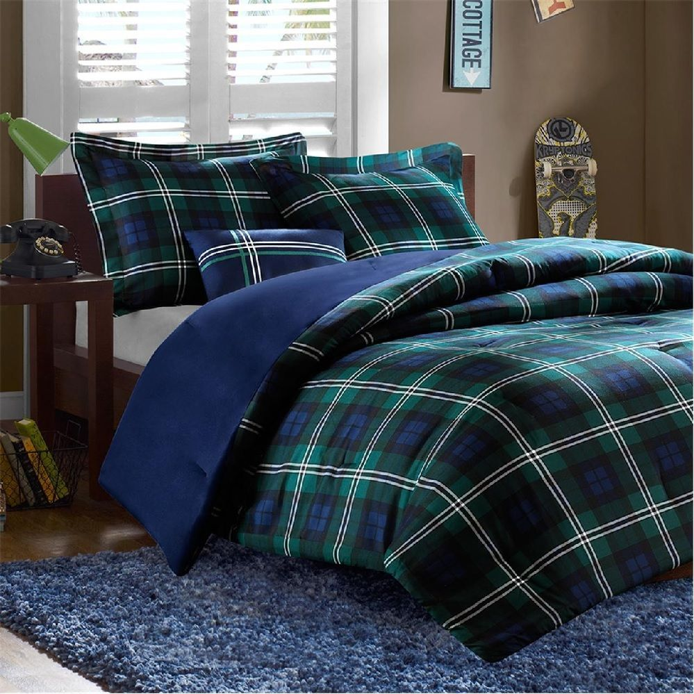 brody in green and blue plaid comforter sets by mizone. Black Bedroom Furniture Sets. Home Design Ideas