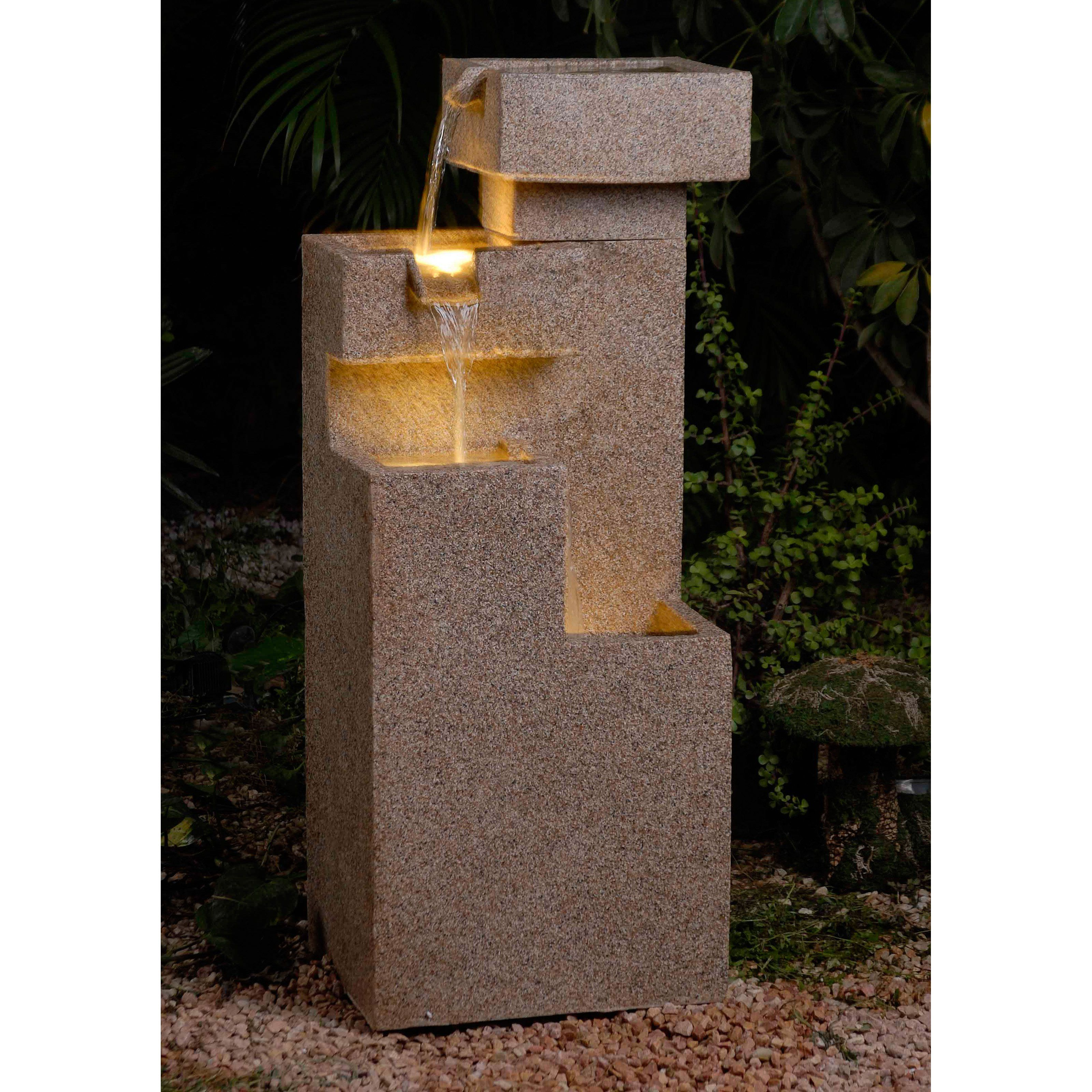 Jeco Sand Stone Cascade Tires Outdoor / Indoor Lighted Outdoor Fountain