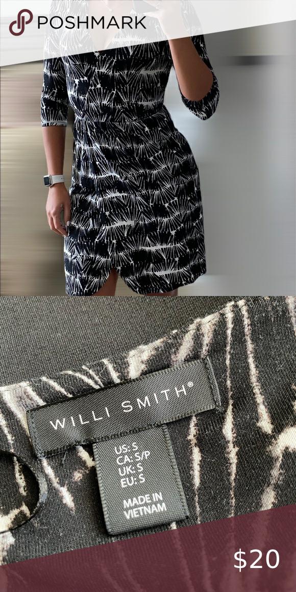 Willi Smith black & white 3/4 sleeve dress Willi S