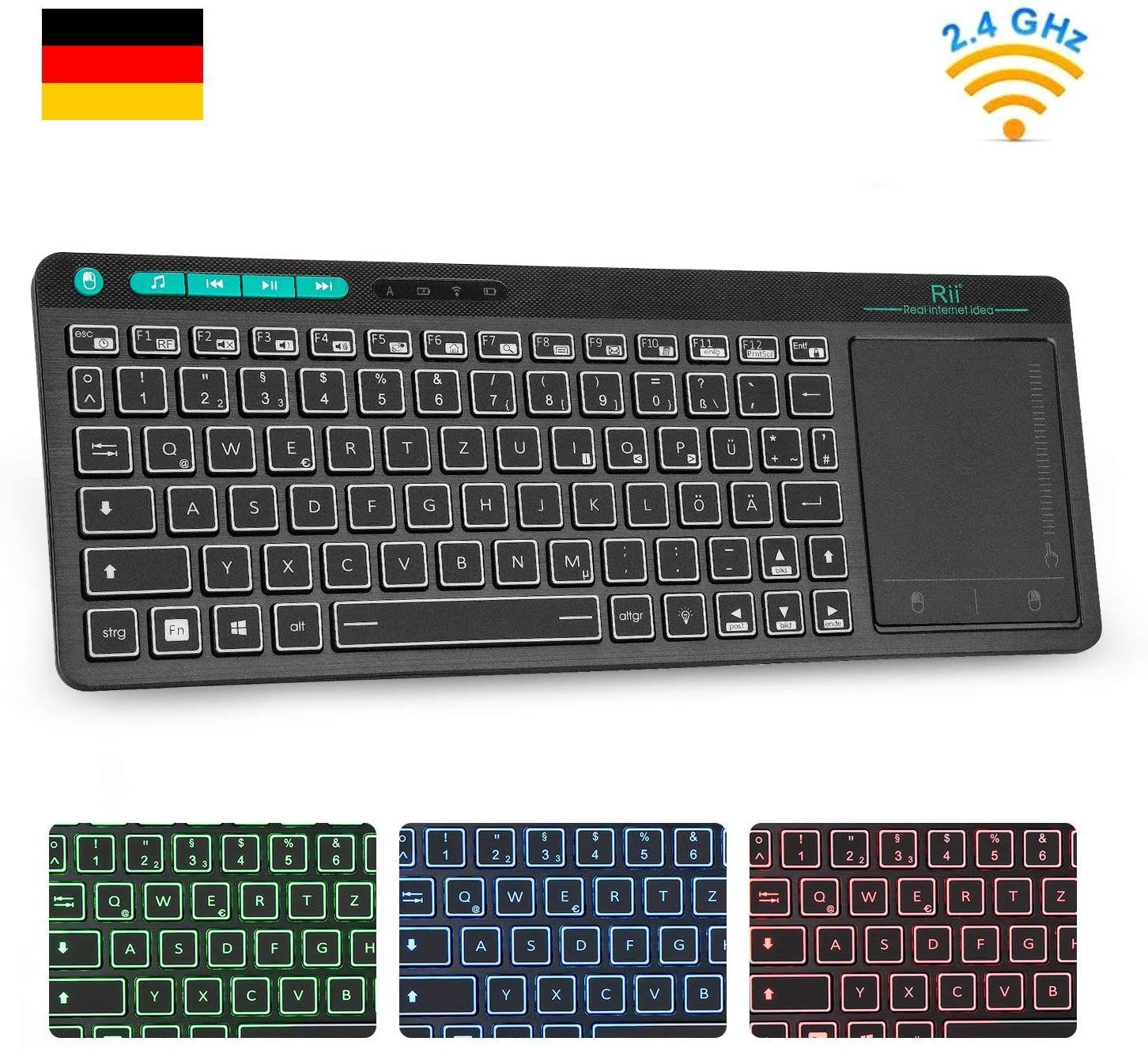 Rii K18 Plus Kabellose Tv Tastatur Wireless Touchpad Tastatur Beleuchtet Tastatur Mit 3 Led Hinter In 2020 Led Hintergrundbeleuchtung Tastatur Hintergrundbeleuchtung