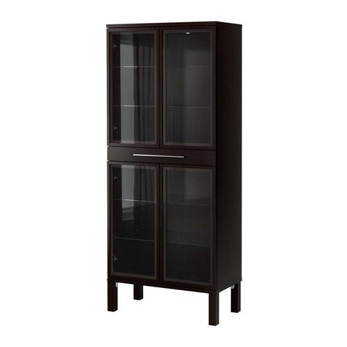 Bjursta glass door cabinet ikea 4 adjustable glass shelves for Adjustable shelves for kitchen cabinets