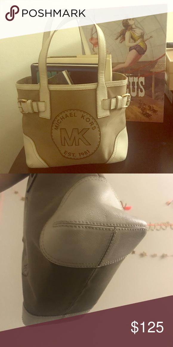 b26eecd062b892 Michael Kors Classic Est. 1981 Classic Michael Kors Purse white leather and  tan material. Michael Kors Bags Totes