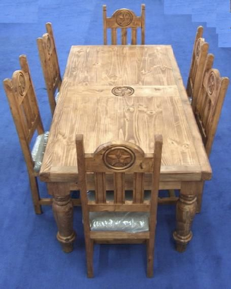 Rustic Furniture Depot   Home 6u0027 Star Table Set W/six Chairs