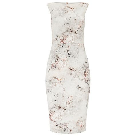Buy Phase Eight Devika Marble Print Dress, Ivory/Petal Online at ...