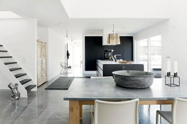 Esszimmer Beton Möbel Bodenbelag schwarze Küche eingebaut | houz ...