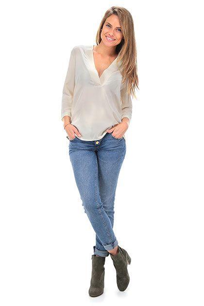 Twin Set Jeans - Camicie - Abbigliamento - Camicia in seta con manica a 3/4 e…