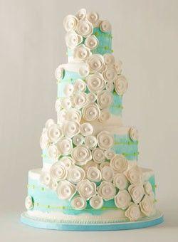 Ranunculus designed on a Tiffany blue cake.