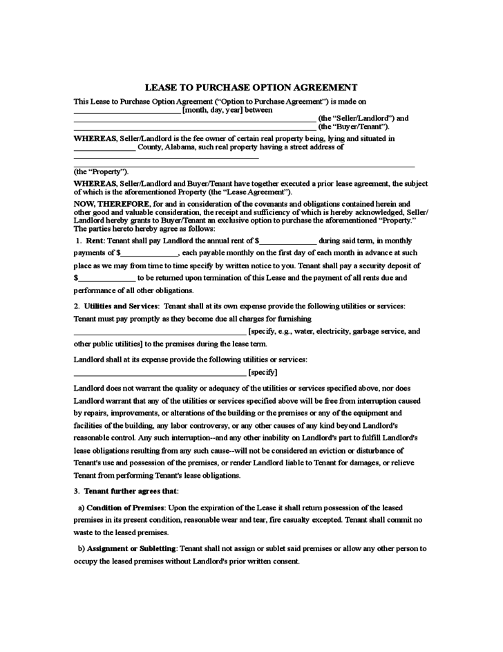 Rent to Own Agreement Sample Form Contracts – Lease Purchase Agreement Template