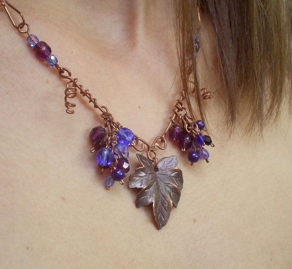 Autumn grapes necklace fall harvest necklace by VeraNasfaJewelry