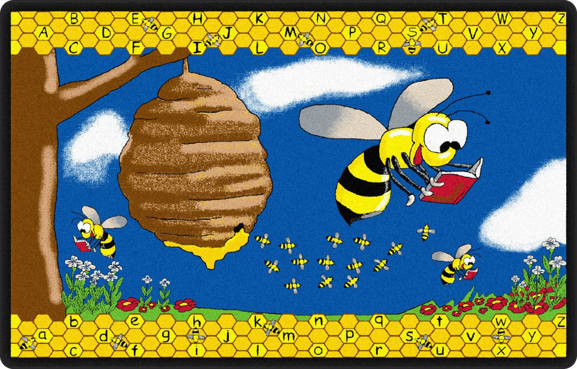 Busy Bee Yellow Blue Area Rug