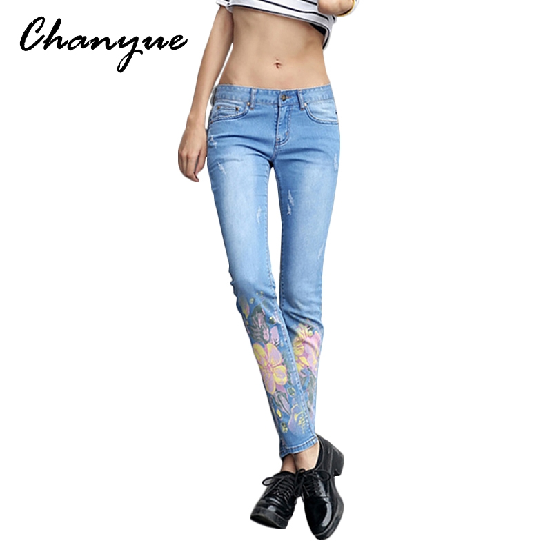 (33.05$)  Buy here - http://aicks.worlditems.win/all/product.php?id=32792962387 - Chanyue Flowers Print Full Length Boyfriend Jeans For Women Ripped Mid Waist Denim Jeans Womens Jeans Pants Skinny Trousers