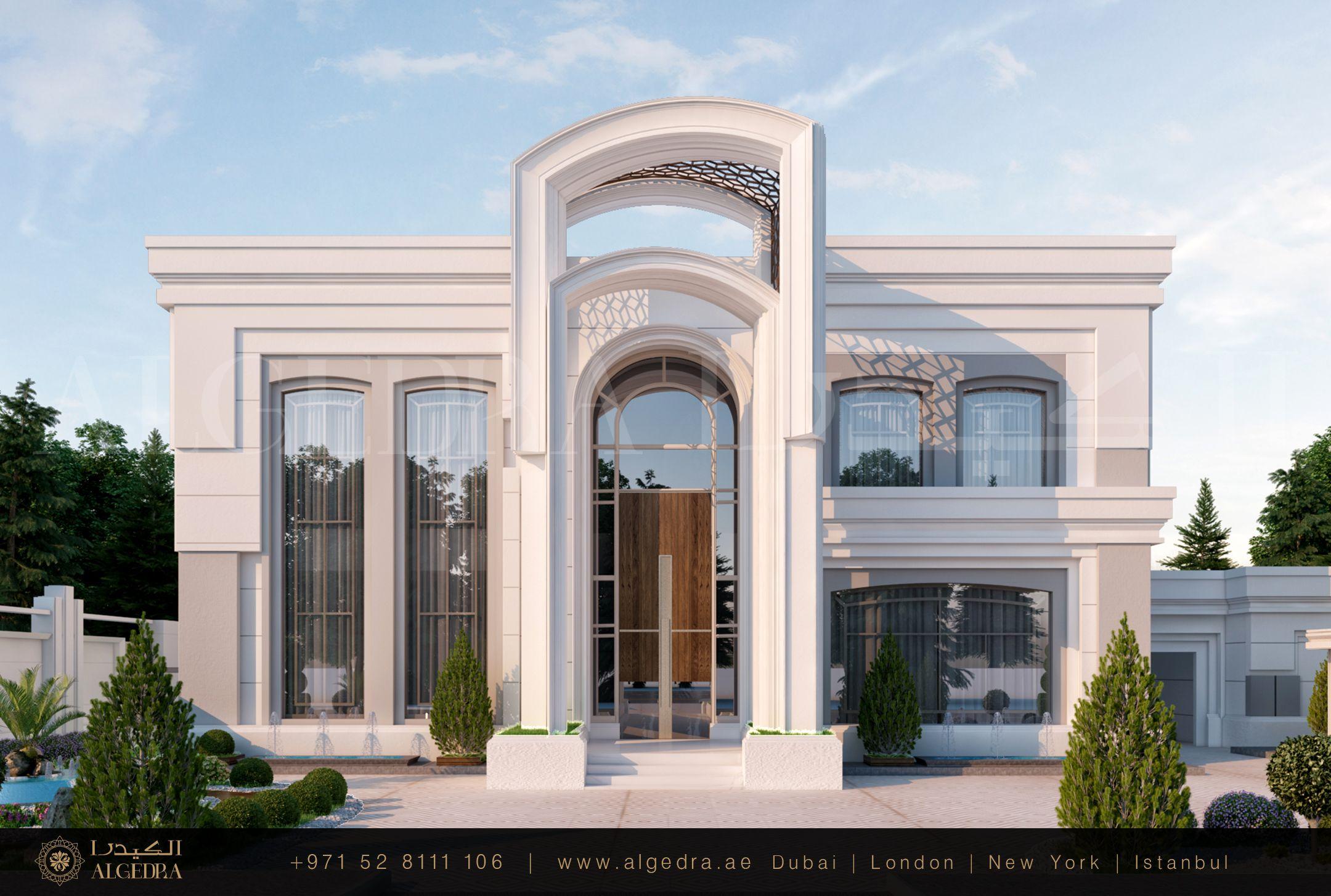 يعد تصميم واجهة الفيلا من أهم الخطوات التي يتم اتخاذها لدى القيام بالتصميم الخارجي لأن المفهوم الهندسي المعتمد فيها Exterior Design Luxury Villa Modern Luxury