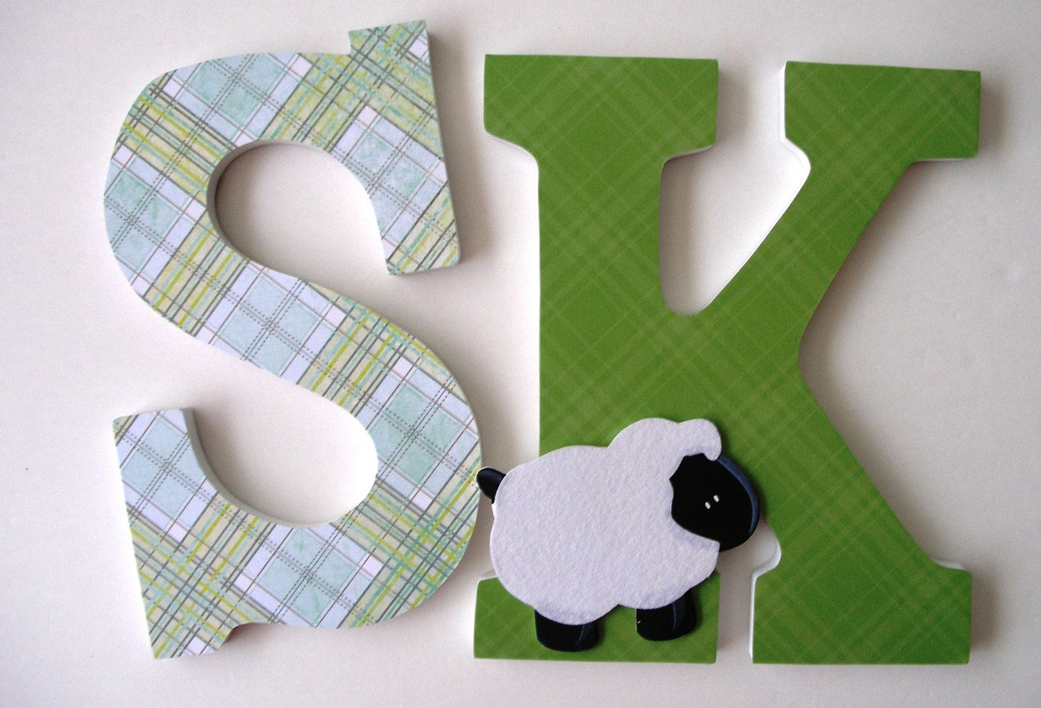Custom Decorated Wooden Letters LAMB Theme - Nursery Bedroom Home Décor, Wall Decorations, Wood Letters, Personalized Sheep. $20.00, via Etsy.