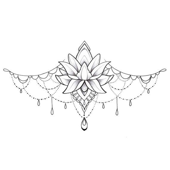 Lotus Underboob Tattoo – temporäre Tattoo