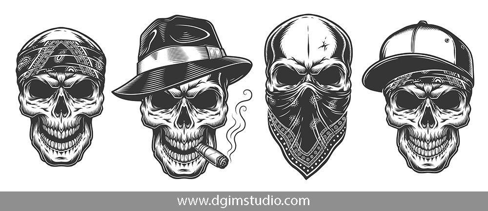 Gangsta Tattoo Drawings Drawings Gangster Skulls Pictures Gangster Drawings Bull Skull Tattoos Gangster Tattoos