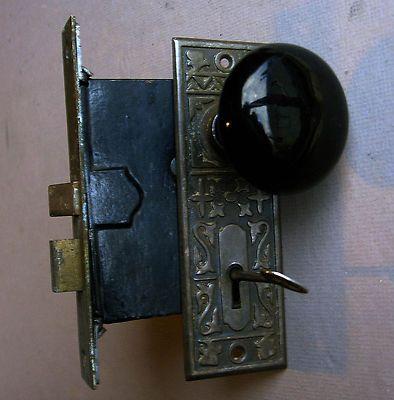 Antique Aesthetic Black Porcelain Door Knob Plate Mortise Lock Box ...