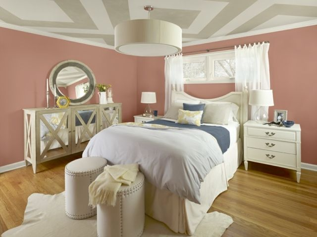 Schlafzimmer Rosa ~ Schlafzimmer rosa wandfarbe deckengestaltung streifen
