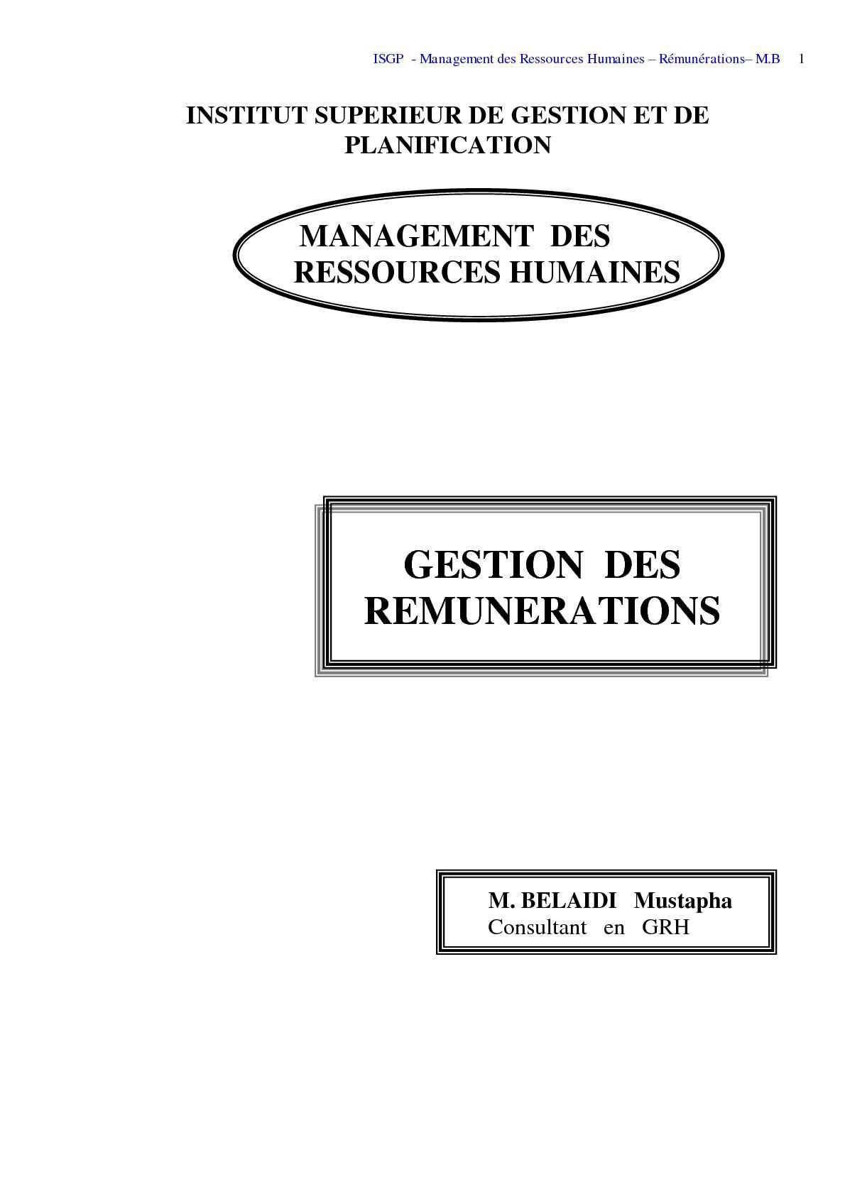 Pdf Print Gestion Des Remuneration Belaidi Isgp Algerie
