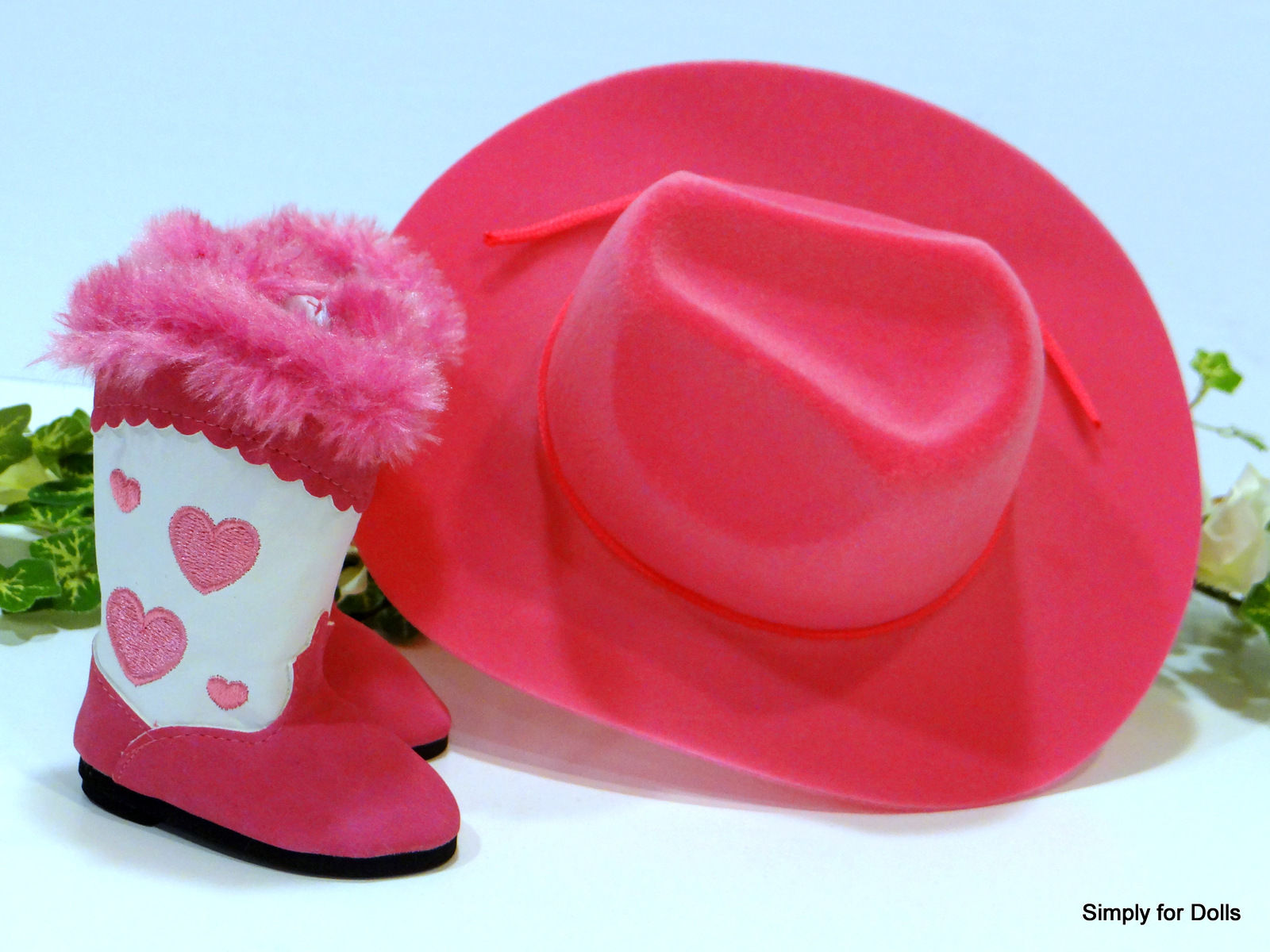 ee2a3336f12  9.98 - 2Pc Hot Pink White Hearts Cowboy Hat   Boots Fits 18