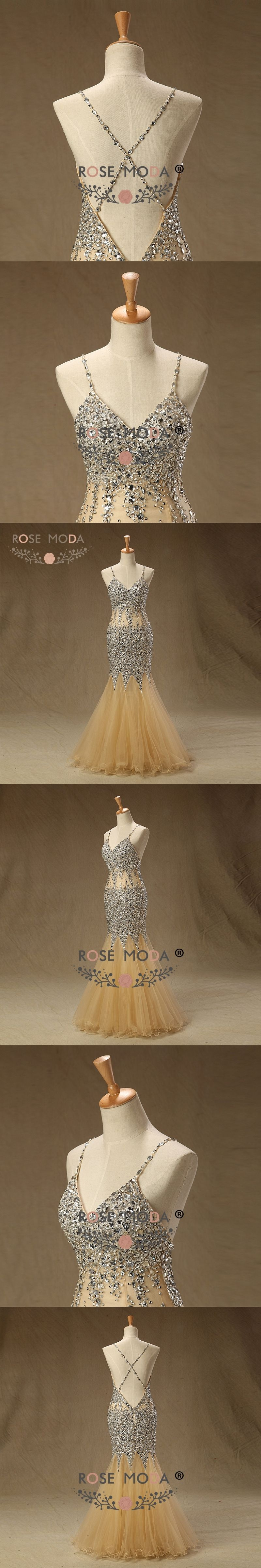 Rose moda gold prom dress see through crystal beaded mermaid prom