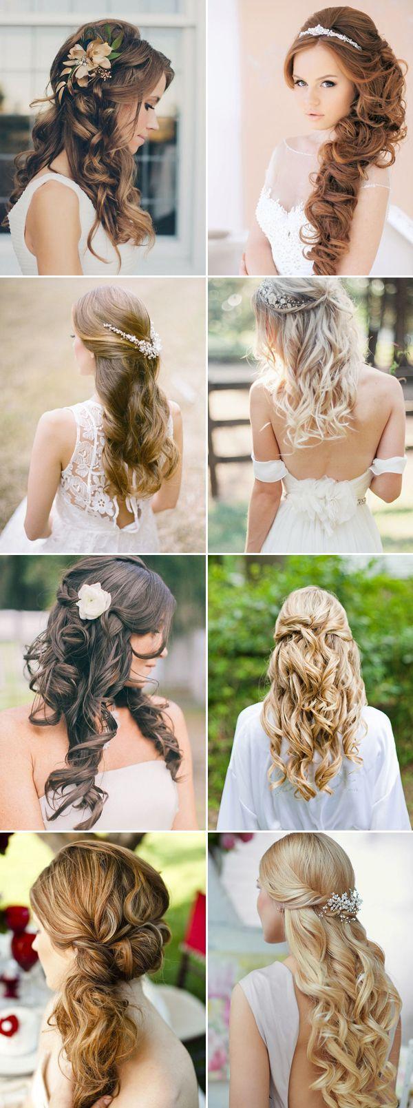 gorgeous half up half down hairstyles for brides wedding