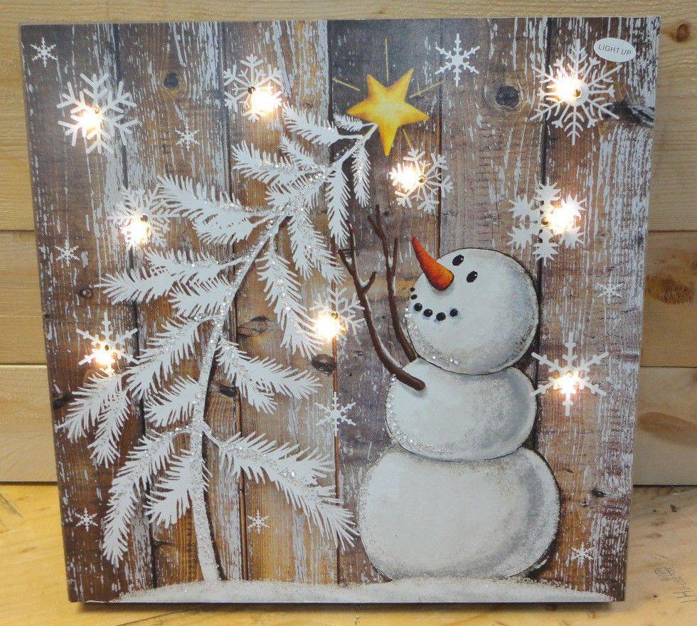 Christmas Snowman Christmas Tree Led Lighted Wood Sign Home Garden Ho Christmas Wood Crafts Christmas Tree Painting Snowman Christmas Decorations