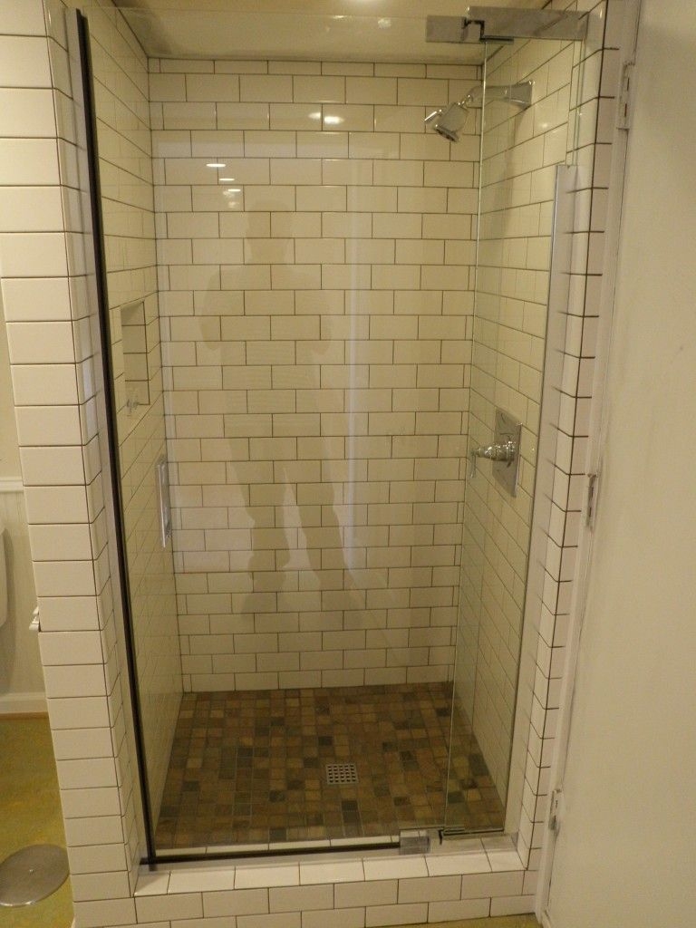 Close up of the new tiled in shower ----- idea for widening shower ...