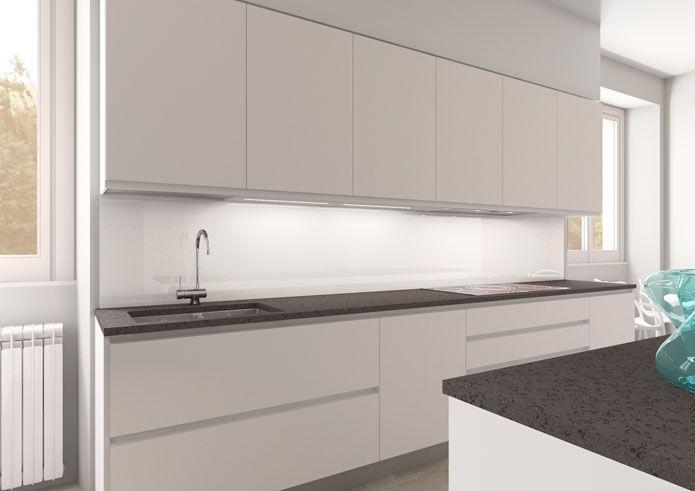 Cucina lineare laccata bianca top in marmo grigio scuro schienale in vetro retrolaccato bianco - Cucina grigio scuro ...