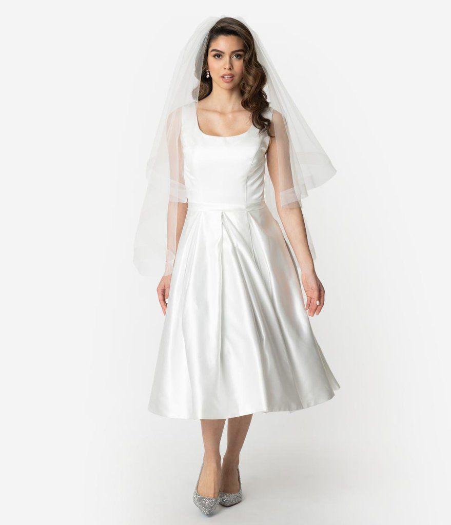 1950s Style Ivory Satin Sleeveless Maxime Wedding Dress In