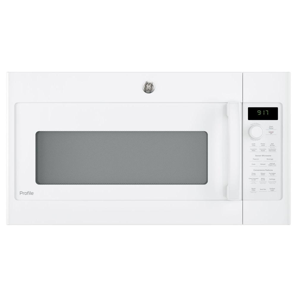 Ge Profile 1 7 Cu Ft Over The Range Convection Microwave In White Pvm9179dkww The Home Depot In 2020 Range Microwave Convection Microwaves Clean Microwave