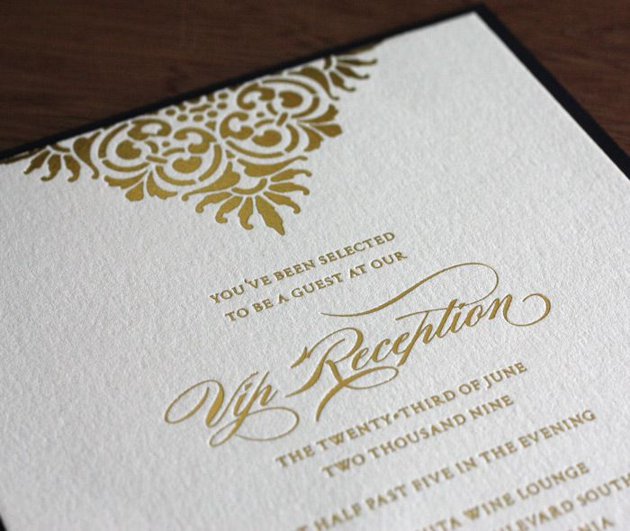 gold foil luxury business vip reception invitation mounted on folio - fresh formal vip invitation letter