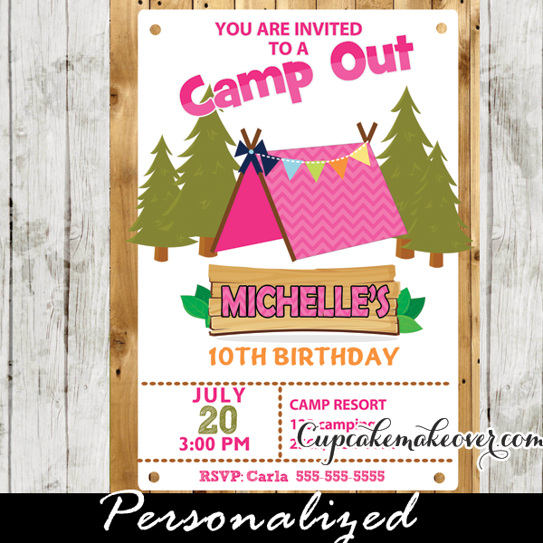 Camping party invitation for girls barn wood personalized printable camping birthday party invitation for girls this personalized camp out birthday invitation features a filmwisefo Image collections