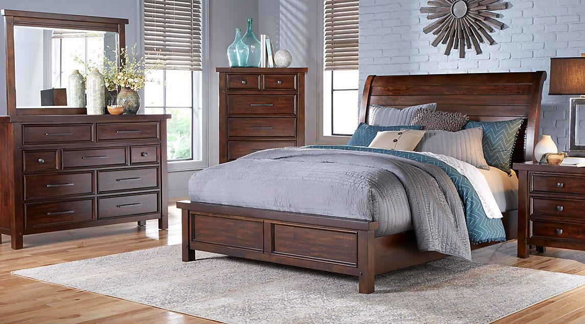 Rooms To Go Mango Burnished Walnut 5pc King Panel Bedroom Sale 1 Our New House