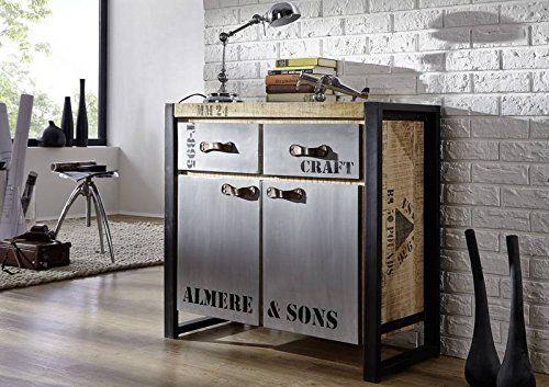 Holz Mango Massivholz Eisen Sideboard vollmassiv Industrial-Stil - kommode für küche