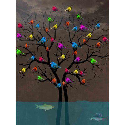 Ivy Bronx 'Bird Tree' Acrylic Painting Print on Canvas Size: