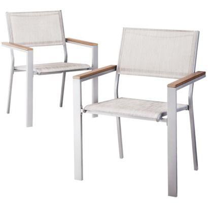 Threshold Bryant 2 Piece Sling Patio Dining Chair Furniture Set Koltuklar Sandalye Balkon Bahce