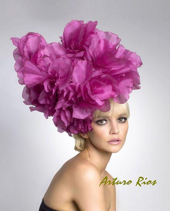 Avant Garde headpiece- Fashion hat-- Hot pink couture hat, fascinator