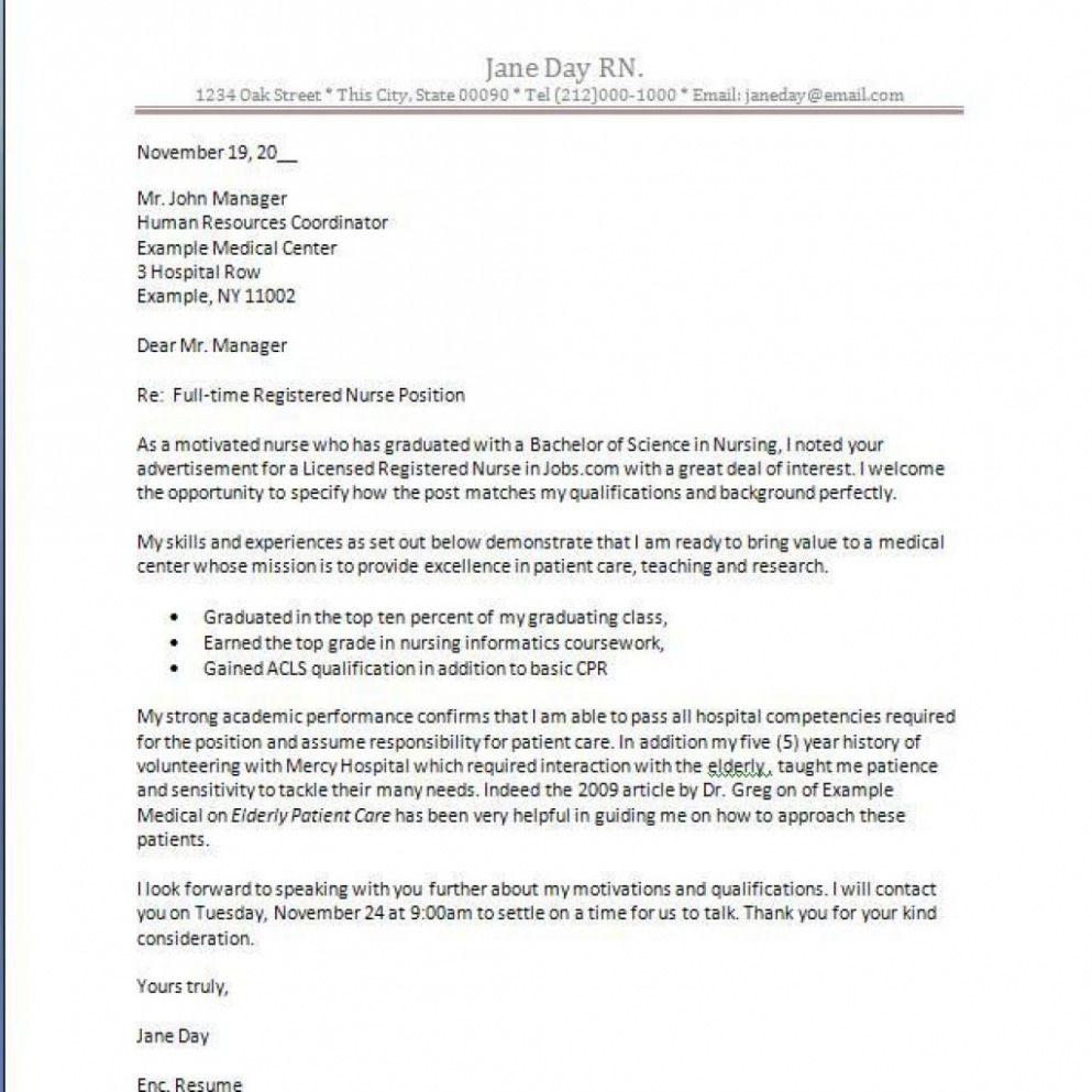 25+ Nursing Cover Letter New Grad . Nursing Cover Letter