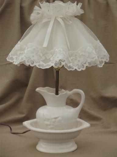 Vintage White China Wash Semade Into A Lamp Pretty Thie Lace Shade Just Makes It T Lamp Country Co Shabby Chic Lamp Shades Victorian Lampshades Cottage Chic
