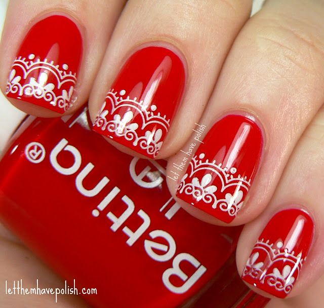 Red Lace Nails. Reminds me of a holiday sweater.