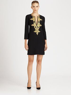 Michael Kors Embroidered Wool Dress